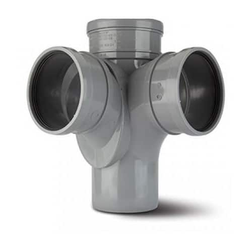 110mm-push-fit-soil-90-d-s-corner-branch-grey-polypipe-speedyplastics