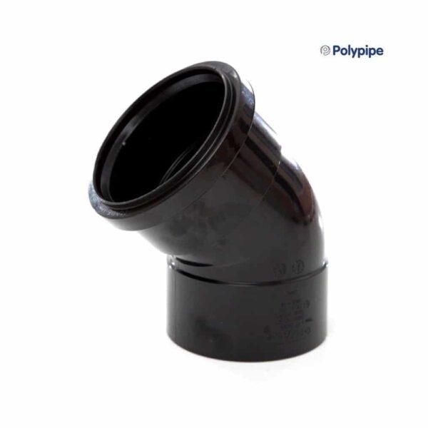 110mm-pushfit-to-solvent-45-degree-bend-black-speedyplastics
